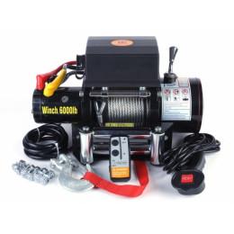 Лебедка электрическая 12V 6000lbs/2722кг (блок управления и механизм влагозащищены (IP66)) (3 контакта)