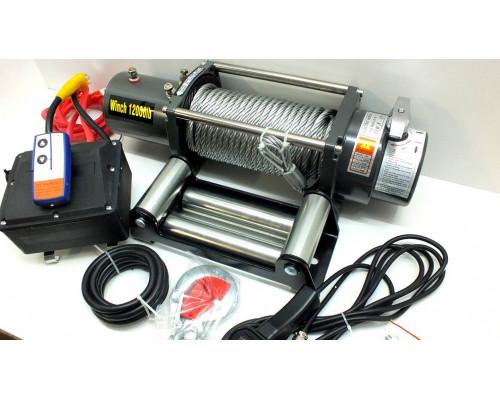 Лебедка электрическая 12V 12000lbs/5443кг (блок управления и механизм влагозащищены (IP66)) с кевларовым тросом 10mm (порошковая краска)