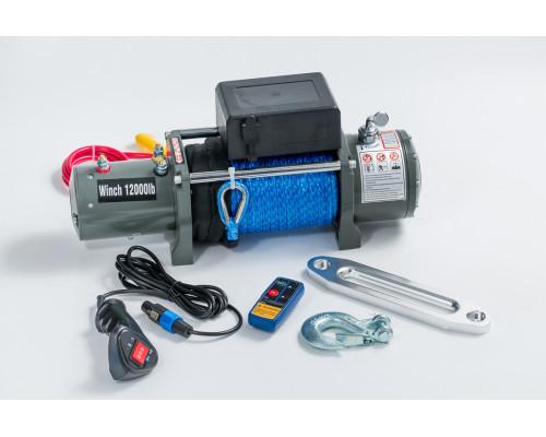 Лебедка электрическая 12V 12000lbs/5443кг (моносоленоид, блок управления и механизм влагозащищены (IP66)) с кевларовым тросом 10mm