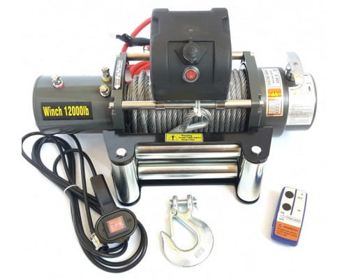 Лебедка электрическая 12V 12000lbs/5443кг (блок управления и механизм влагозащищены (IP66))