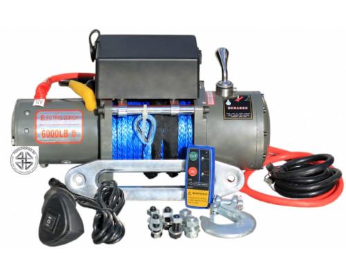 Лебедка электрическая 12V 6000lbs/2722кг (блок управления и механизм влагозащищены (IP66)) (3 контакта) с кевларовым тросом 8mm