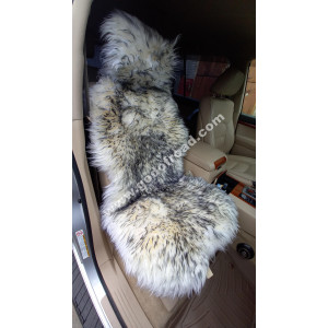 Накидка на сиденья меховая, овчина (длинный ворс, без подклада) - 1шт (Белая с черными кончиками)