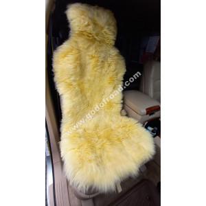 Накидка на сиденья меховая, овчина (длинный ворс, с подкладом) - 1шт (Жёлтая)