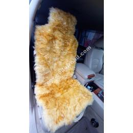 Накидка на сиденья меховая, овчина (длинный ворс, с подкладом) - 1шт (Жёлтая с темными кончиками)