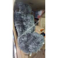 Накидка на сиденья меховая, овчина (длинный ворс, с подкладом) - 1шт (Серая)