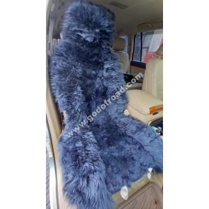 Накидка на сиденья меховая, овчина (комбинированный ворс, с подкладом) - 1шт (Серая)