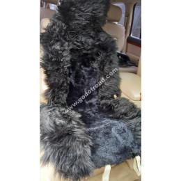 Накидка на сиденья меховая, овчина (комбинированный ворс, с подкладом) - 1шт (Чёрная)