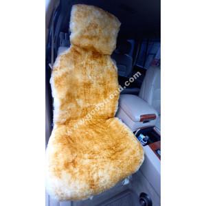 Накидка на сиденья меховая, овчина (короткий ворс, без подклада) - 1шт (Жёлтая с тёмными кончиками)